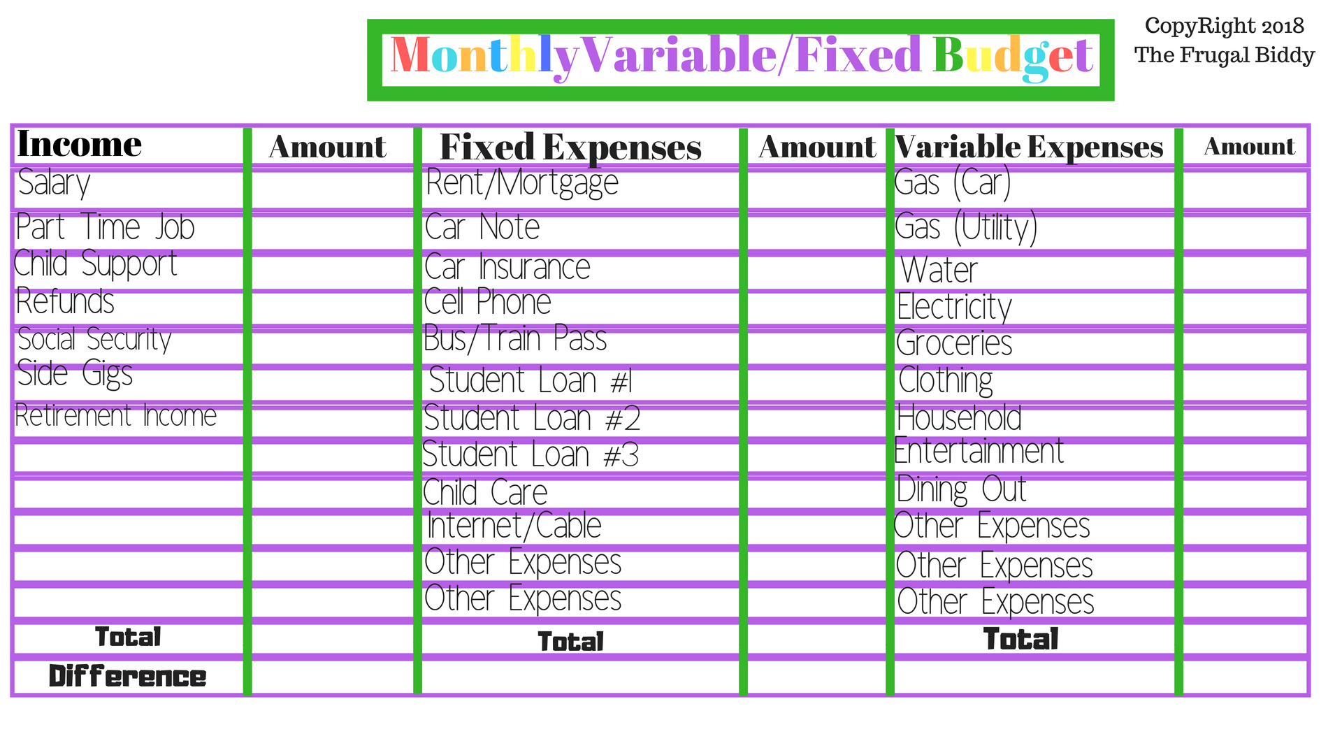 Monthly Variable Fixed Budget Worksheet