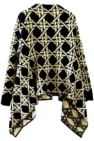 chic-geo-printing-open-front-cardigan