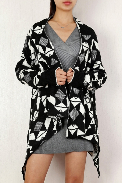 chic-geometric-pattern-open-front-cardigan
