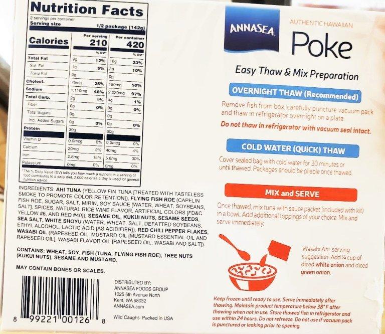 Annasea Poke Bowl Safeway Review Raw Nutrition Calories Box