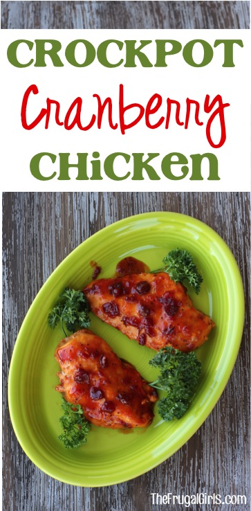 Crockpot Cranberry Chicken Recipe - at TheFrugalGirls.com