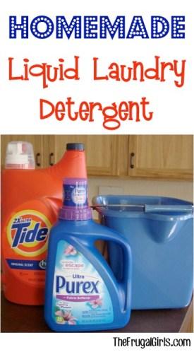 Liquid Laundry Detergent Recipe from TheFrugalGirls.com