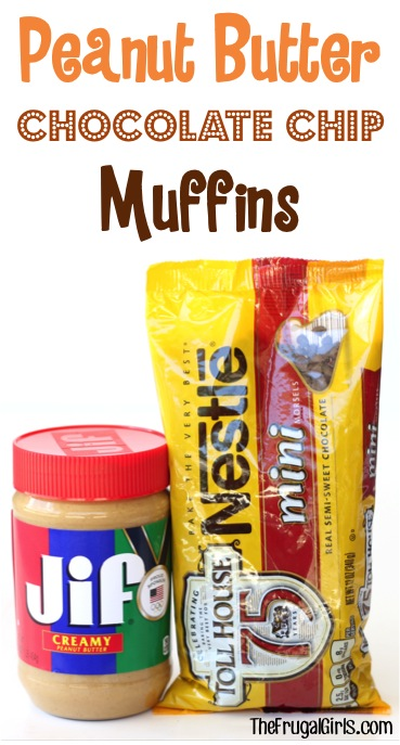 Peanut Butter Chocolate Chip Muffin Recipe from TheFrugalGirls.com