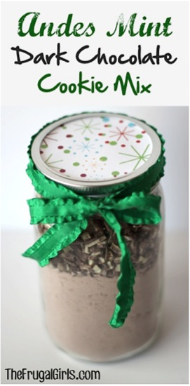 Andes Mint Dark Chocolate Cookie Mix in a Jar