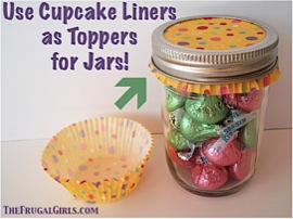 Using Cupcake Liners as Toppers for Jars