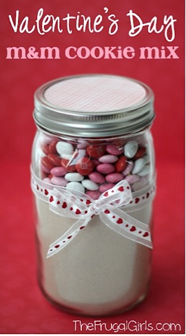 Valentines Day M&M Cookie Mix in a Jar
