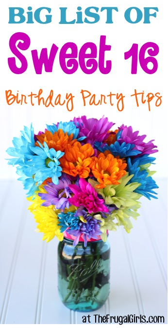 Sweet 16 Birthday Party Ideas at TheFrugalGirls.com