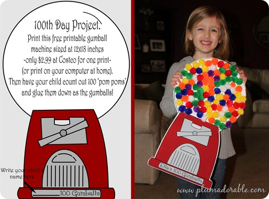 100th Day of School Project Gumball Machine at TheFrugalGirls.com