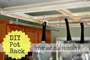 DIY Kitchen Pot Rack... from an Old Window