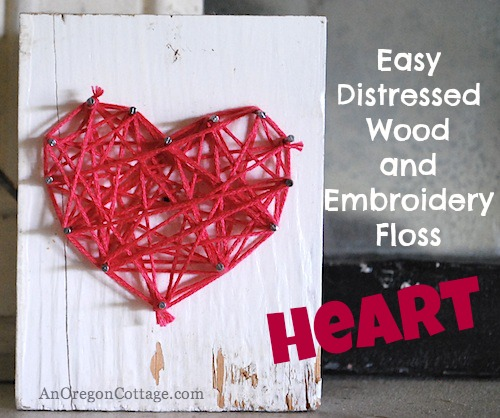 Easy Distressed Wood Embroidery Floss Craft at TheFrugalGirls.com