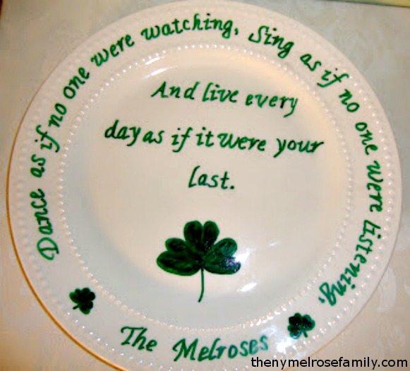 Shamrock Irish Blessing Plate Craft Project