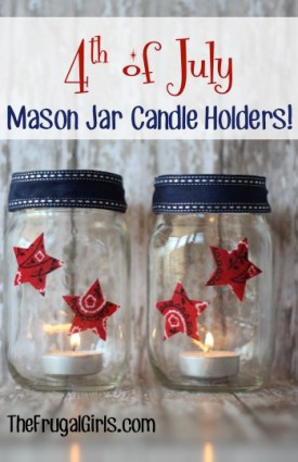 4th of July Mason Jar Candle Holders