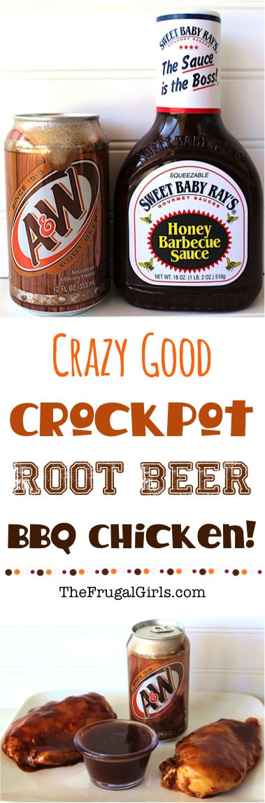 Crockpot Root Beer Barbecue Chicken Recipe from TheFrugalGirls.com