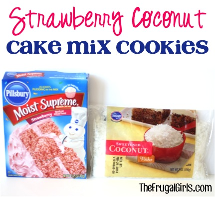 Strawberry Coconut Cake Mix Cookies Recipe from TheFrugalGirls.com