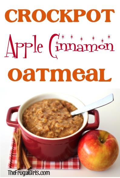 Crockpot Apple Cinnamon Oatmeal Recipe at TheFrugalGirls.com