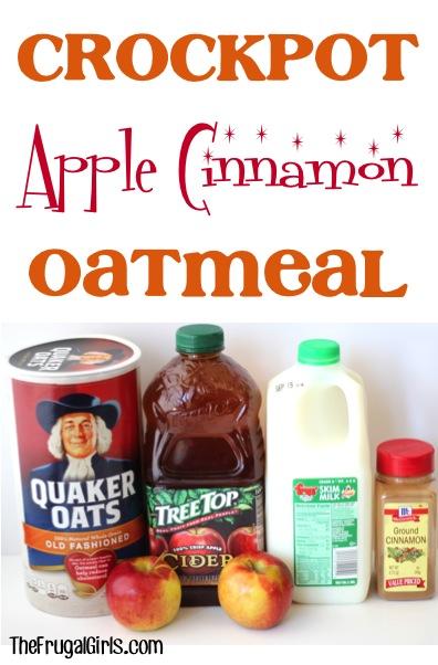 Crockpot Apple Cinnamon Oatmeal Recipe - at TheFrugalGirls.com