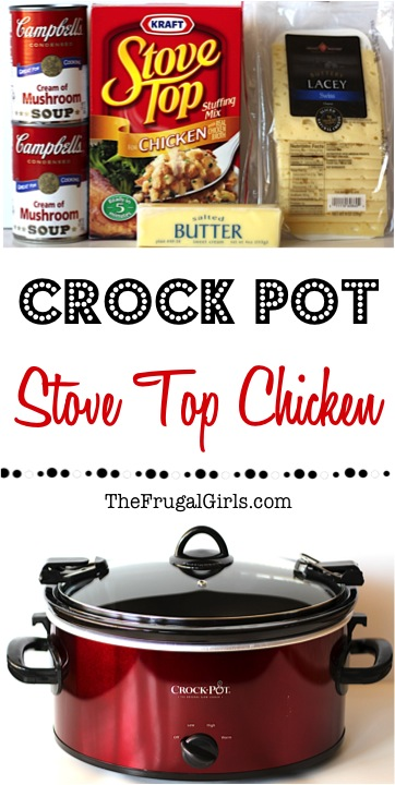 Crockpot Stove Top Chicken Recipe - from TheFrugalGirls.com
