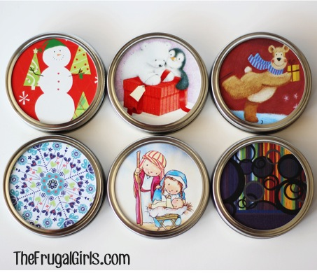 Ideas for Gifts in a Jar Lids from TheFrugalGirls.com