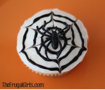 Spider Web Cupcake Tutorial at TheFrugalGirls.com