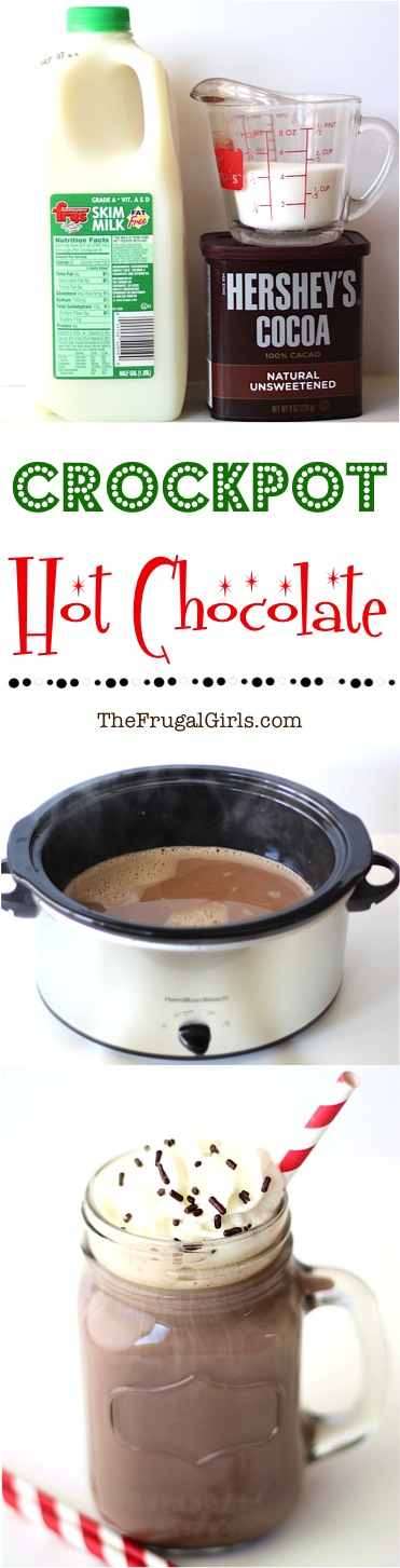 Crockpot Hot Chocolate Recipe - from TheFrugalGirls.com