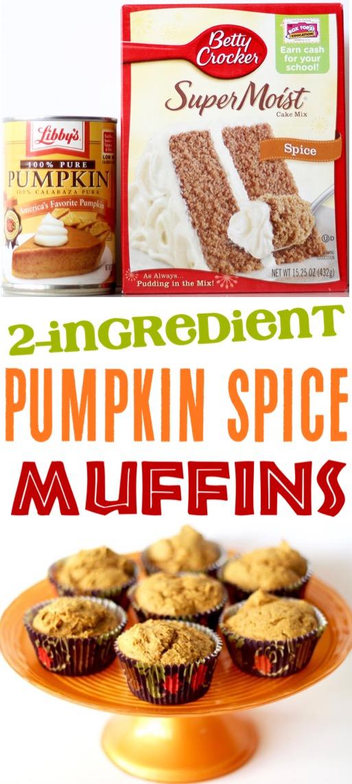 Pumpkin Muffins Easy 2 Ingredient Recipe