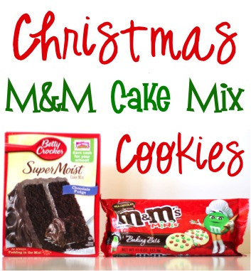 Christmas M&M Cake Mix Cookies Recipe from TheFrugalGirls.com