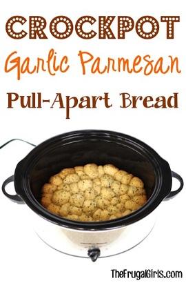 Crockpot Garlic Parmesan Pull-Apart Bread Recipe from TheFrugalGirls.com