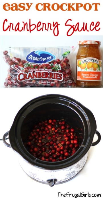 Easy Crcokpot Cranberry Sauce Recipe - at TheFrugalGirls.com