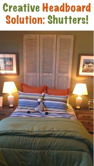 Home Decor Tip: Creative Shutters Headboard at TheFrugalGirls.com