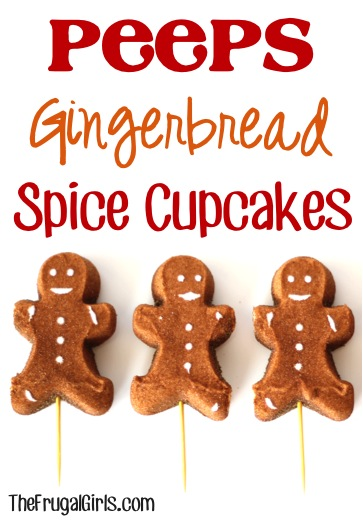 Peeps Gingerbread Spice Cupcakes at TheFrugalGirls.com