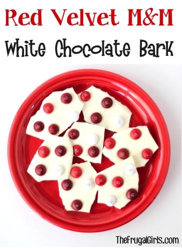 Red Velvet M&M White Chocolate Bark from TheFrugalGirls.com