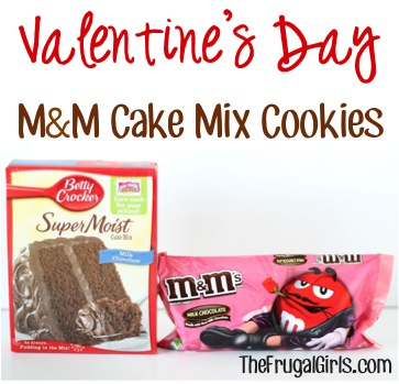 Valentine's Day M&M Cake Mix Cookies Recipe - from TheFrugalGirls.com