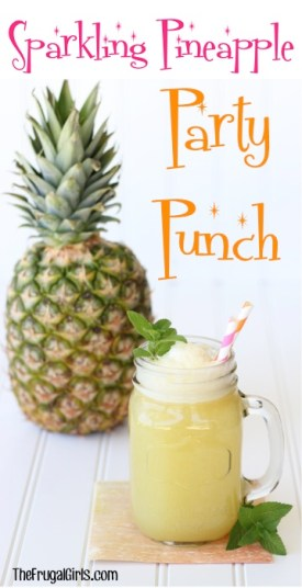 Sparkling Pineapple Party Punch Recipe from TheFrugalGirls.com