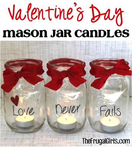 Valentine's Day Mason Jar Candles from TheFrugalGirls.com