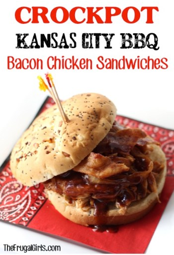 Crockkpot Kansas City Barbecue Bacon Chicken Sandwiches Recipe from TheFrugalGirls.com