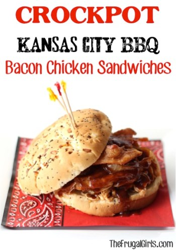Crockpot Kansas City BBQ Chicken Sandwiches Recipe from TheFrugalGirls.com