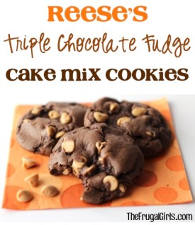 Reese's Triple Chocolate Fudge Cake Mix Cookies Recipe from TheFrugalGirls.com