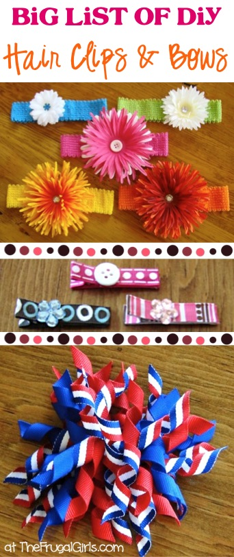 BIG List of DIY Hair Clips and Bows from TheFrugalGirls.com