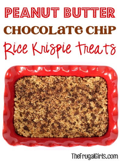 Peanut Butter Chocolate Chip Rice Krispie Treats Recipe - at TheFrugalGirls.com