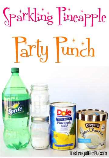 Sparkling Pineapple Party Punch Recipe at TheFrugalGirls.com