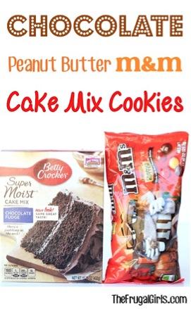 Chocolate Peanut Butter M&M Cake Mix Cookie Recipe