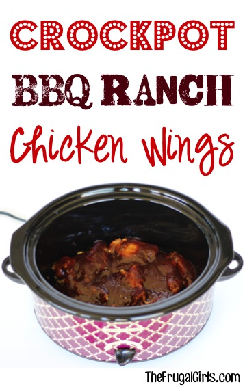 Crockpot BBQ Ranch Chicken Wings Recipe - at TheFrugalGirls.com