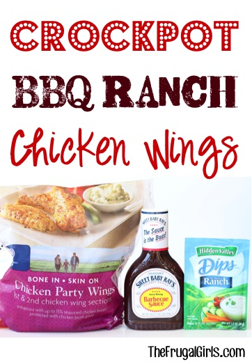 Crockpot BBQ Ranch Chicken Wings Recipe from TheFrugalGirls.com