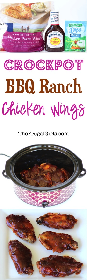 Crockpot Barbecue Ranch Chicken Wings Recipe - at TheFrugalGirls.com
