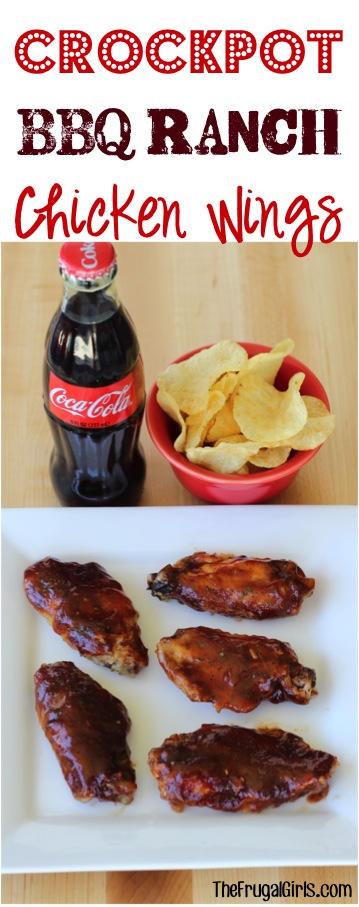 Crockpot Barbecue Ranch Chicken Wings Recipe from TheFrugalGirls.com