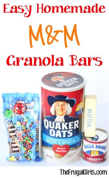 Easy M&M Granola Bars Recipe at TheFrugalGirls.com