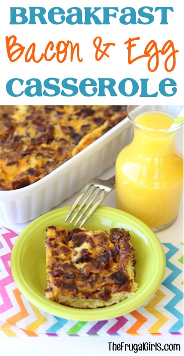 Breakfast Bacon and Egg Casserole Recipe from TheFrugalGirls.com