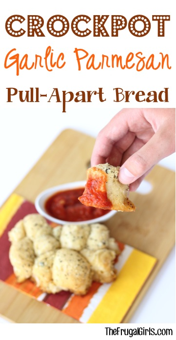 Crockpot Garlic Parmesan Pull Apart Bread Recipe - at TheFrugalGirls.com