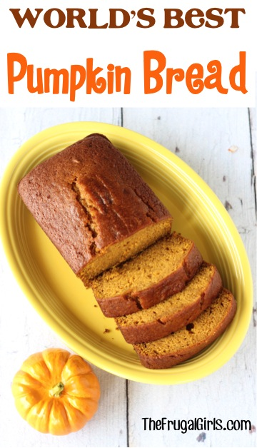 World's Best Pumpkin Bread Recipe - at TheFrugalGirls.com