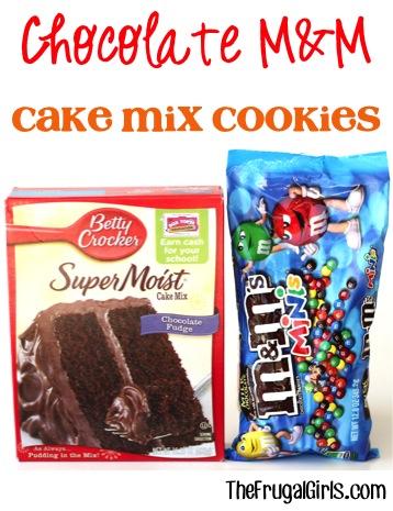Chocolate M&M Cake Mix Cookies Recipe - at TheFrugalGirls.com